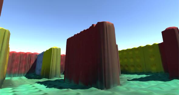 So sieht das Labyrinth mit VR-Brille aus, das man vorher aus echten Lego-Steinen selbst gebaut hat. Bild: DLR