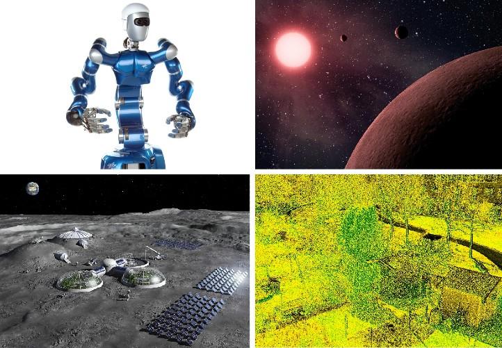 Die Bilder stehen symbolisch für einige der Arbeiten, mit denen sich Schülerinnen und Schüler beim diesjährigen Jugend-forscht-Wettbewerb beschäftigt haben. Bilder: DLR, NASA, ESA