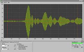 Messung des reflektierten Signals eines intakten Bauteils. Bild: DLR (CC-BY 3.0).
