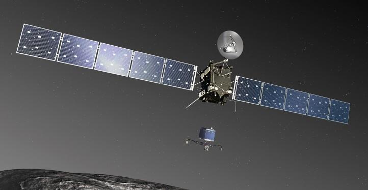 Raumsonde Rosetta (oben) und Landeeinheit Philae (Bildmitte). Bild: ESA–C. Carreau/ATG medialab