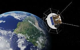 Die Ozeane im Blick: Der AlSat mit Helix-Antenne zur Überwachung des Schiffsverkehrs. Bild: DLR (CC-BY 3.0).