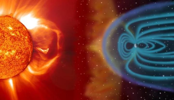 Ein Sonnenwind trifft auf das Magnetfeld der Erde. Bild: DLR (CC-BY 3.0).