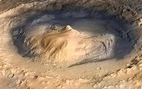 Der Gale-Krater: Landeplatz und Untersuchungsgebiet von Curiosity. Bild: NASA/JPL - Caltech/ESA/DLR/FU Berlin/MSSS
