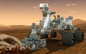 Der Mars-Rover Curiosity ist ein fahrendes Laboratorium. Er soll unter anderem nach Spuren von Leben suchen. Bild: NASA/JPL - Caltech.