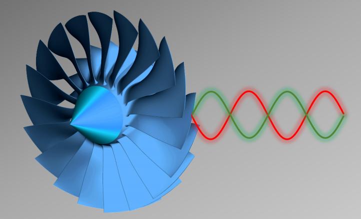 Turbine eines Flugzeugtriebwerks. Modell eines sogenannten Fan – der ersten Stufe eines Flugzeugtriebwerkes. Bild: DLR