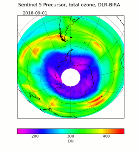 Entwicklung des Ozon-Lochs über der Antarktis auf Basis von Daten des Satelliten Sentinel-5P. Bild: ESA