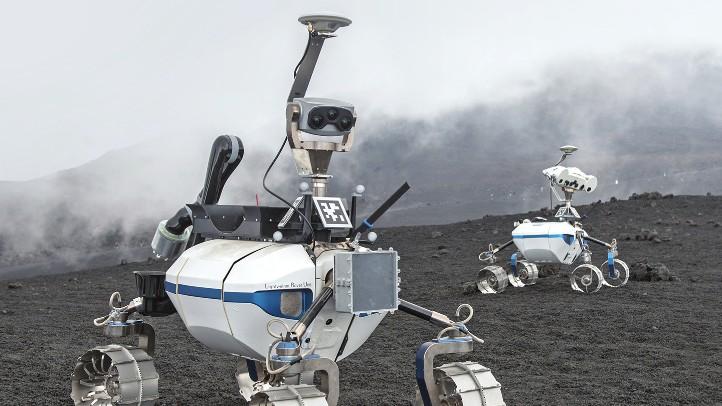 Der LRU (Lightweight Rover Unit) ist der Prototyp eines teilautonomen Roboters zur Exploration von Mond oder Mars. Bild: DLR