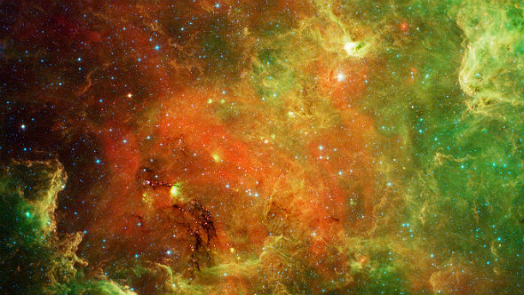 Infrared image of the North America Nebula in the Cygnus constellation. Credit: NASA/JPL-Caltech/L. Rebull (SSC/Caltech)