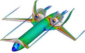 """Das """"Low-Noise-Aircraft""""-Konzept des DLR – Simulation der Lokalen Strömungsgeschwindigkeit, Wirbel und Überschallbereiche des DLR-LNA bei Reiseflug. Credit: DLR (CC-BY 3.0)."""