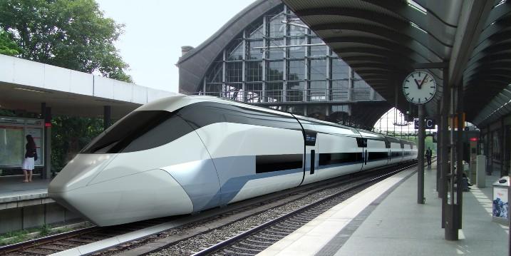 """Der """"Next Generation Train"""" (NGT) fährt in dieser künstlerischen Darstellung in einen Bahnhof ein und bildet mit der Erforschung der Passagierströme beim Ein- und Aussteigen die Grundlage für das Experiment """"Fahrgastwechsel"""". Bild: DLR (CC-BY 3.0)."""