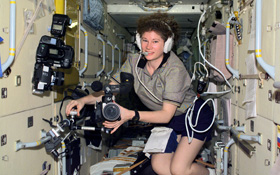Astronaut Susan J. Helms on board the ISS. Credit: NASA