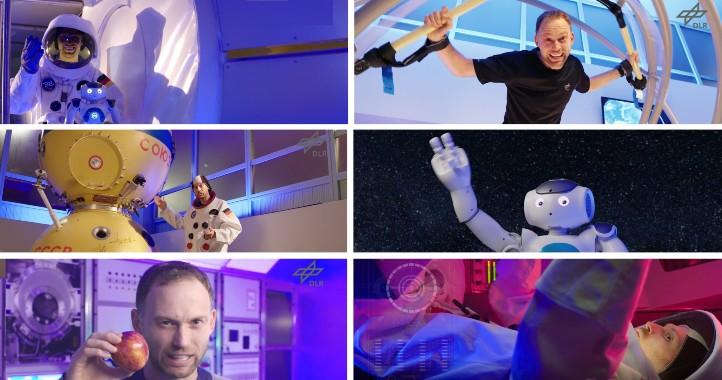 Unser Moderator Tobias Bohnhardt durchläuft diesmal ein Astronautentraining und führt das Publikum durch die Internationale Raumstation. Bilder: DLR