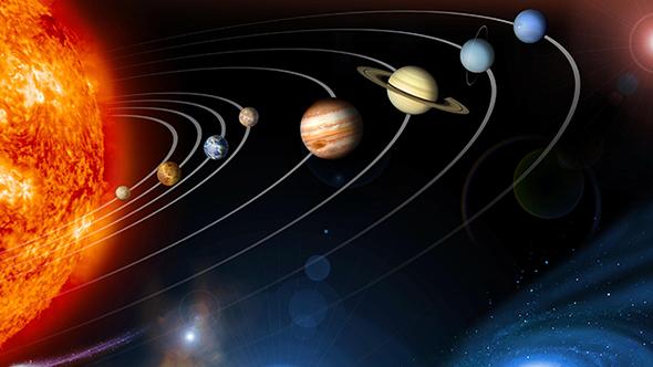 Diese Darstellung zeigt die Planeten des Sonnensystems – und die Sonne selbst. Natürlich ist das alles nie so schön aufgereiht wie hier. Bild: NASA