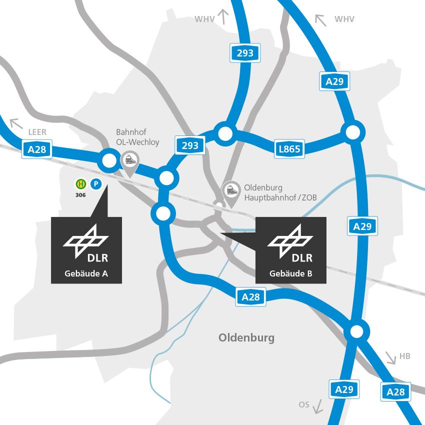 Fussgangerzone Oldenburg Karte.Dlr Institut Fur Vernetzte Energiesysteme Anreise Zum