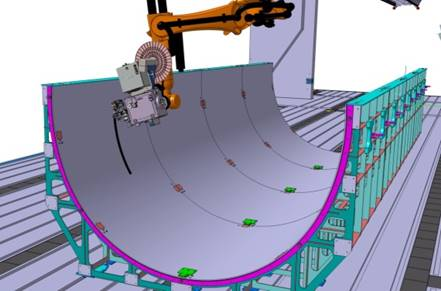 CAD%2dmodel of the fiber placement process within the multifunctional robot cell at DLR%2dZLP
